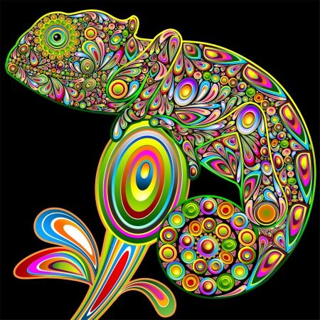 Camaleón Psychedelic Art Design Ilustración de vector