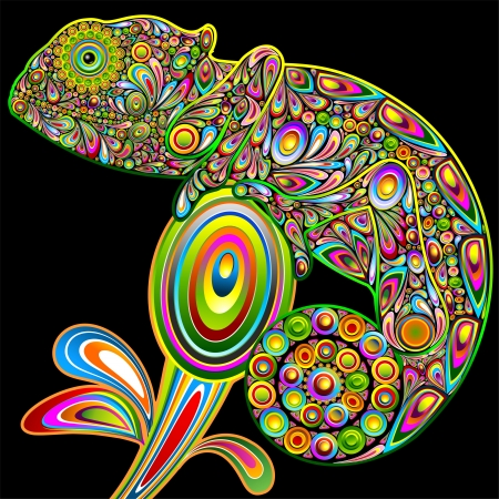 Chameleon Psychedelic Art Design Stock Vector - 16247427