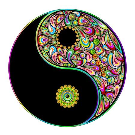 Symbool van Yin Yang Psychedelic Art Design Stock Illustratie