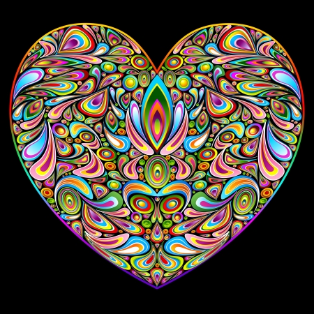 Love Heart Psychedelic Art Design Vector