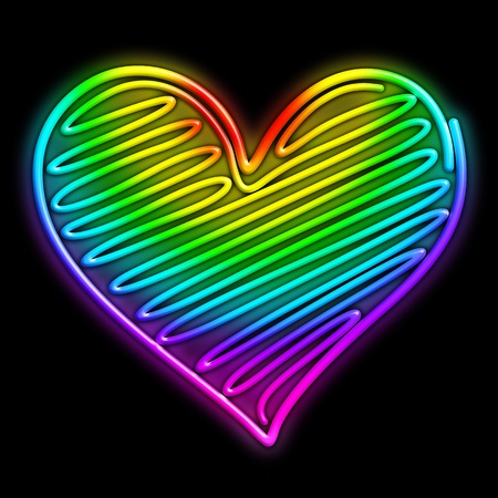 Love Heart Psychedelic Neon Light Stock Photo - 16247430