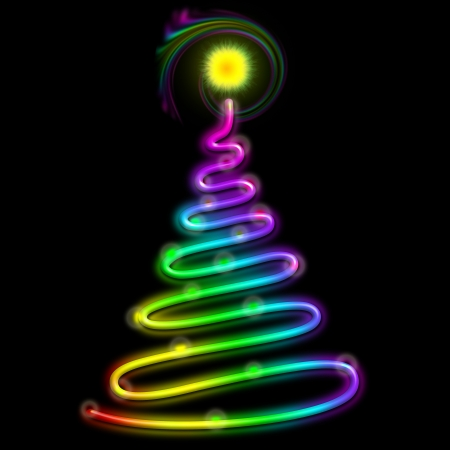Christmas Tree Psychedelic Neon Light photo