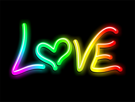 Love Psychedelic Neon Light Vector