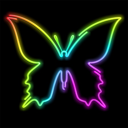 Butterfly Psychedelic Neon Light Illustration