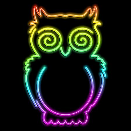 Owl Psychedelic Neon Light Stock Vector - 16332310