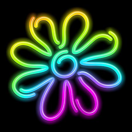 Flower Daisy Psychedelic Neon Light Stock Vector - 16430101