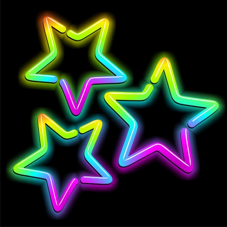 Christmas Stars Psychedelic Neon Light Vector