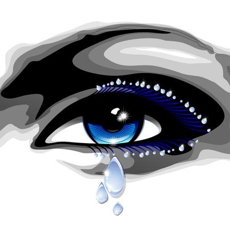 Ojos azules hermosos con lágrimas