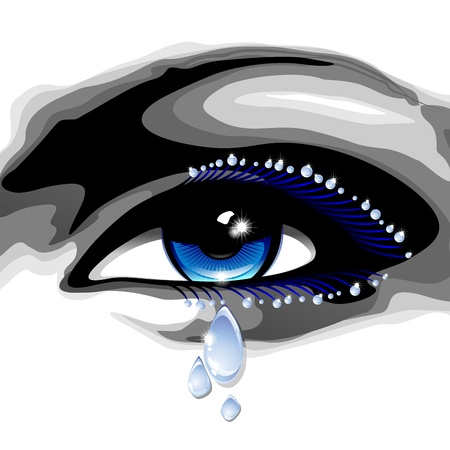 lagrimas: Ojos azules hermosos con lágrimas