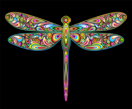 Dragonfly Psychedelic Art Design Stock Vector - 16478728