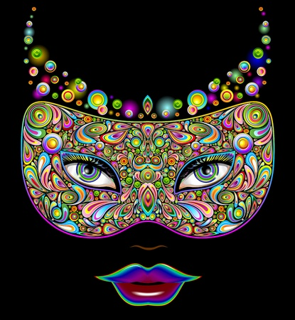 Girl s Carnival Party Mask Psychedelic Art Design Vector