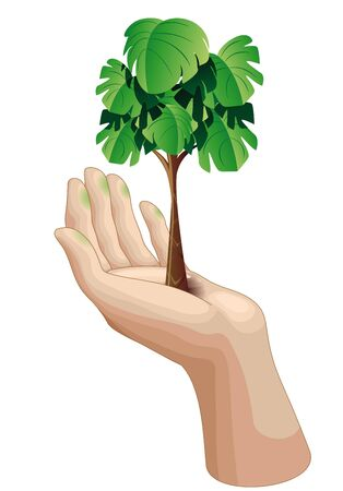 green thumb: Hand with Growing Green Tree Illustration