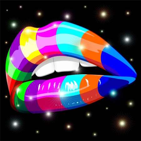 Sensual Lips Psychedelic Rainbow Stock Vector - 16511396
