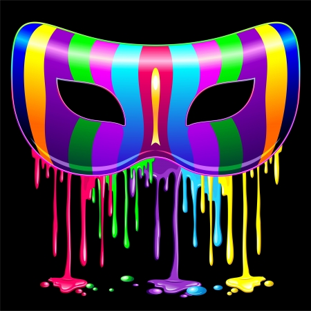 carnival mask: Carnival Mask Psychedelic Rainbow Glowing Paint Illustration