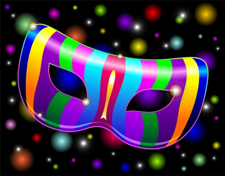 carnival mask: Carnival Mask Psychedelic Rainbow Lights Illustration