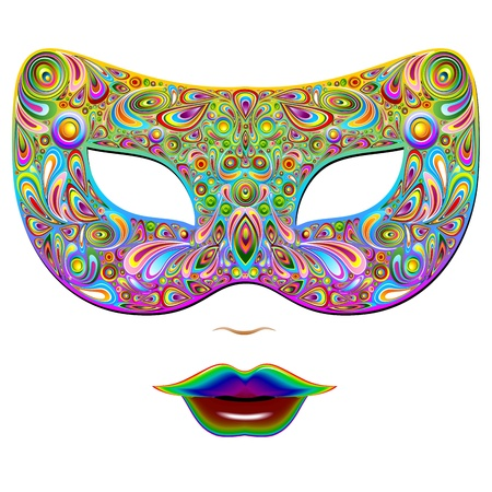Mask Psychedelic Carnival Party Vector