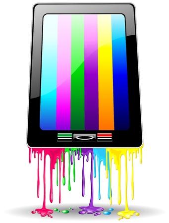 Tablet Smart phone Rainbow Paint Stock Vector - 16688638