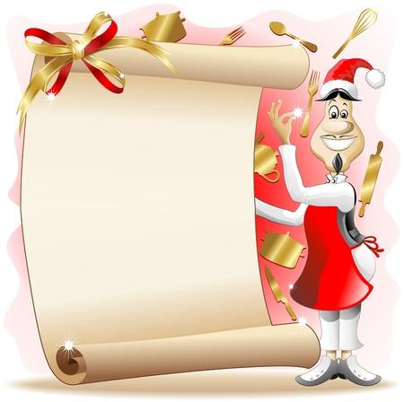 cartoon menu: Santa Cook with Christmas with Vintage Paper Menu