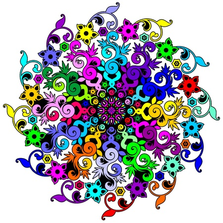 hypnotique: Mandala floral psych�d�lique spirale