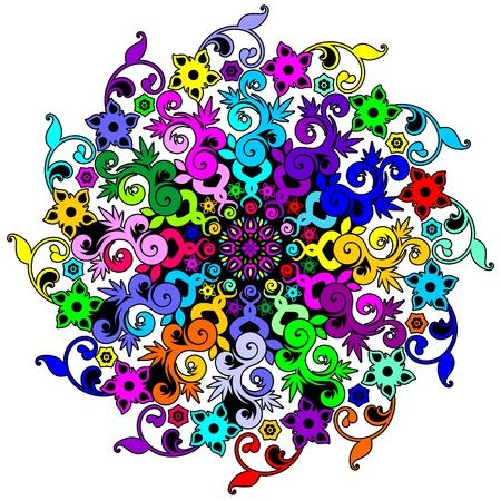 emblematic: Mandala Floral Psychedelic Spiral Illustration