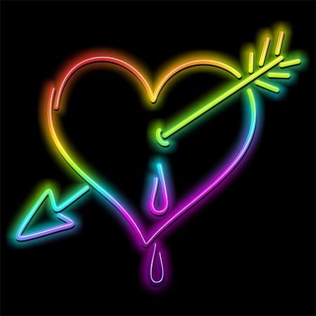 Liebes-Herz und Pfeil Psychedelic Neon