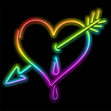 Love Heart and Arrow Psychedelic Neon Vector
