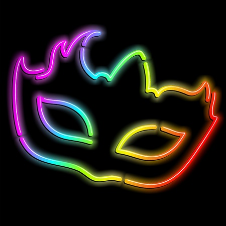 Carnival Party Mask Psychedelic Neon Light Vector