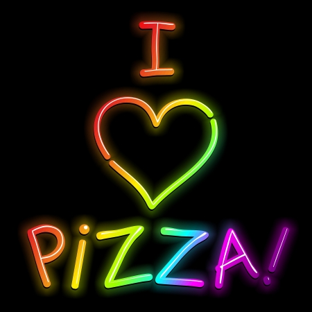 I Love Pizza Psychedelic Rainbow Neon Light Stock Vector - 16897796