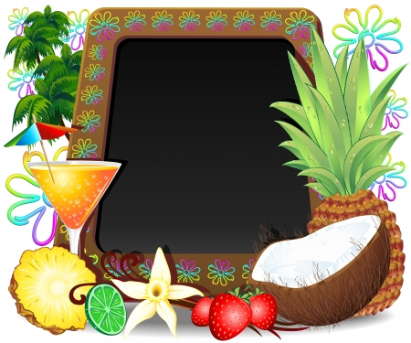 Exotic Cocktail Frozen Drinks Black Board Menu Vector