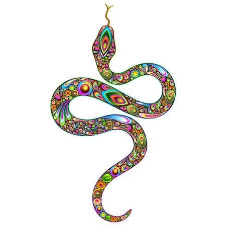 Snake Psychedelic Art Design Vector