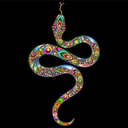Snake Psychedelic Art Design Stock Vector - 16957601