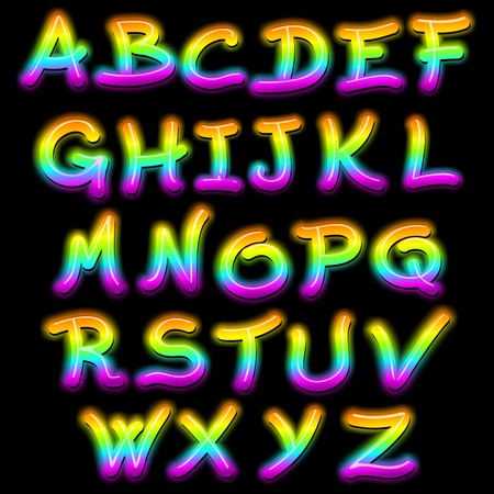 Letters Signs Alphabet Psychedelic Neon Light Stock Vector - 16978659