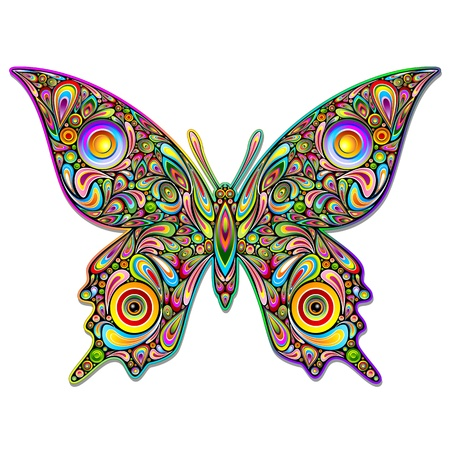 rainbow circle: Butterfly Psychedelic Art Design Illustration