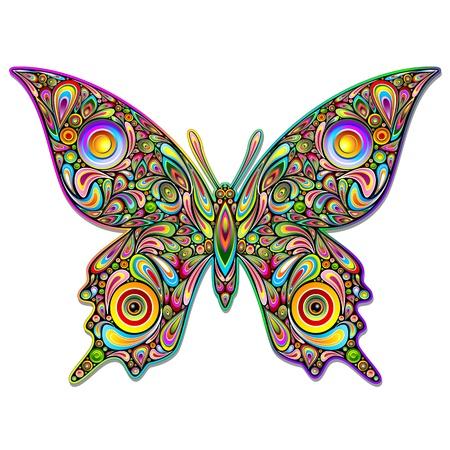 tatuaje mariposa: Psychedelic Butterfly Art Design Vectores