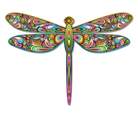 Libellule Psychedelic Art Design Vecteurs