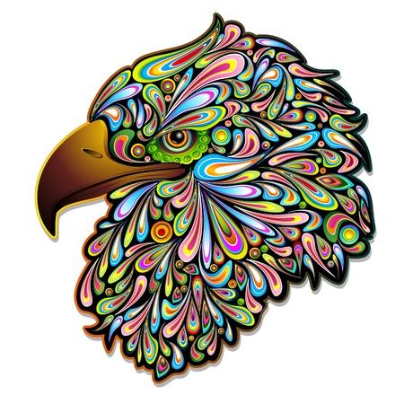 halcones: Eagle Hawk Psychedelic Art Design Vectores