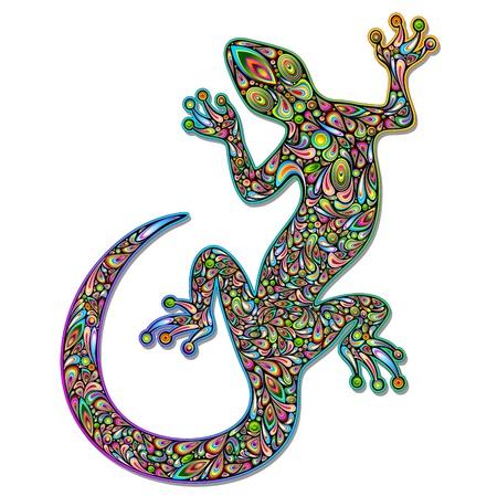 Gecko Geko Lizard Psychedelic Art Design  Stock Vector - 17032549