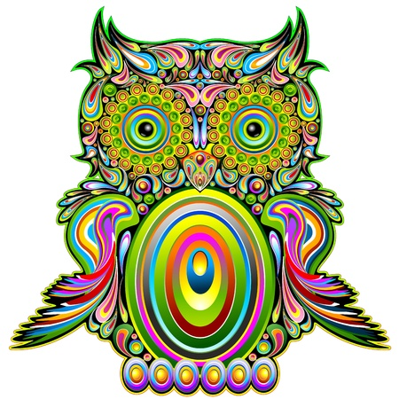 sowa: Owl Art Design Psychedelic Ilustracja