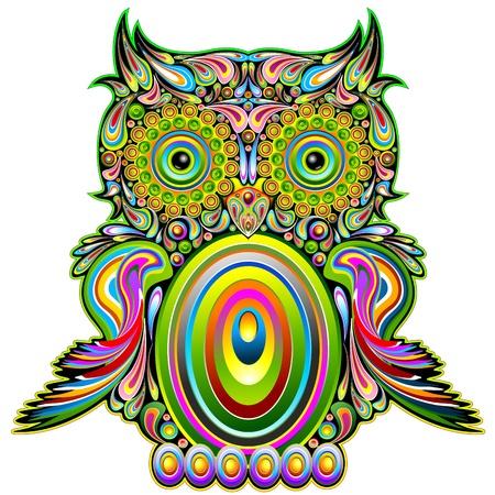 superstition: Owl Psychedelic Art Design