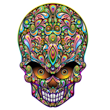 Skull Psychedelic Art Design Stock Vector - 17045262