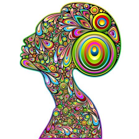 Woman Psychedelic Portrait Art Design Stock Vector - 17045264