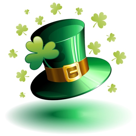 irish pride: St Patrick Day Green Hat and Shamrock Clover  Illustration