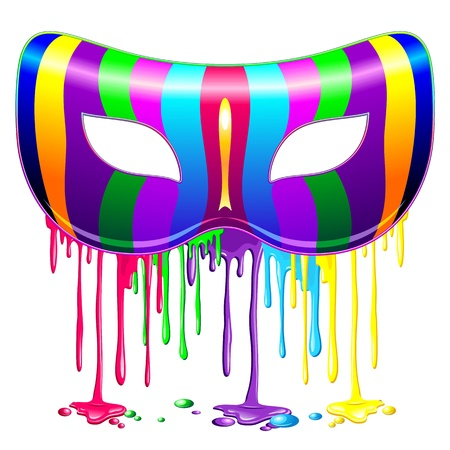 Carnival Mask Psychedelic Rainbow Glowing Paint Illustration