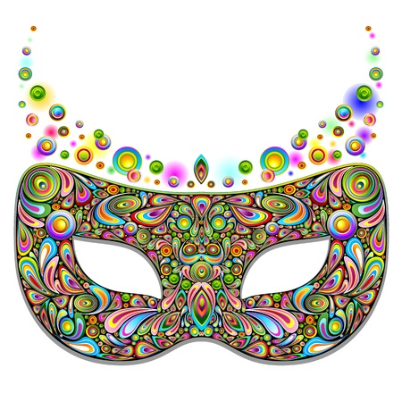 theatrical: Carnival Party Mask Psychedelic Art Design  Illustration