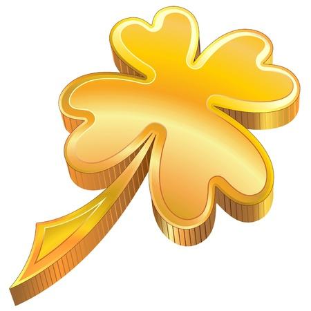 St Patrick four-Leaf Luck Golden Shamrock Symbol Stock Vector - 17151872
