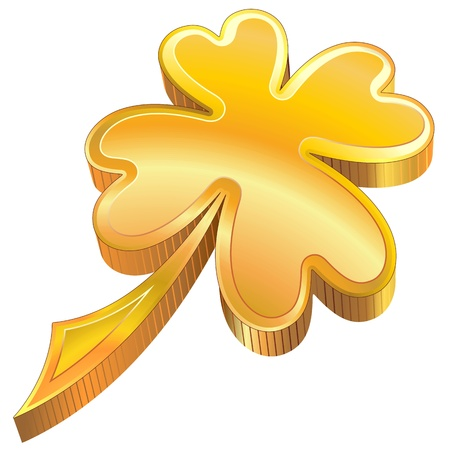 patron saint of ireland: St Patrick four-Leaf Luck Golden Shamrock Symbol