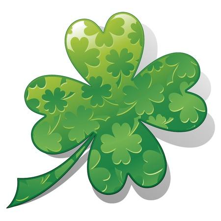 fourleaf: St Patrick Four-leaf Shamrock Luck Symbol Design Illustration