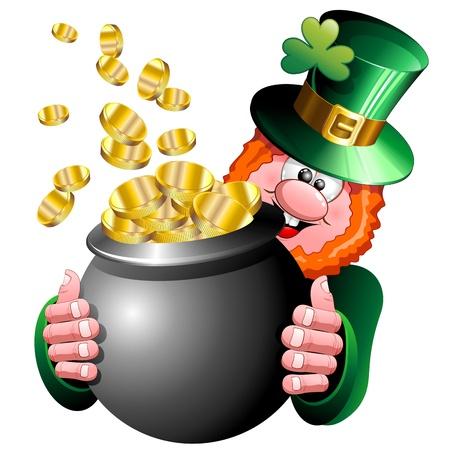 arrozal: St Patrick del arroz de dibujos animados con las monedas de oro en el crisol Caldero