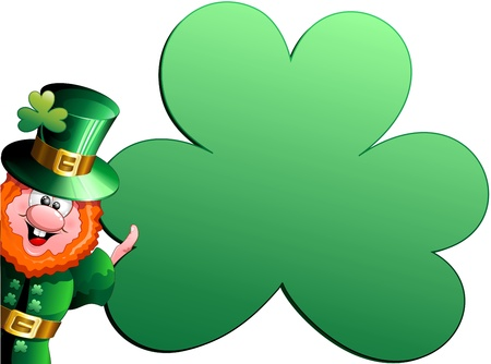 St Patrick Cartoon with big Shamrock Poster Card Stock Vector - 17180100