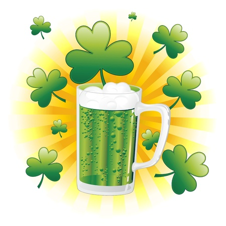 St Patrick Green Beer Mug with Shamrock Vector